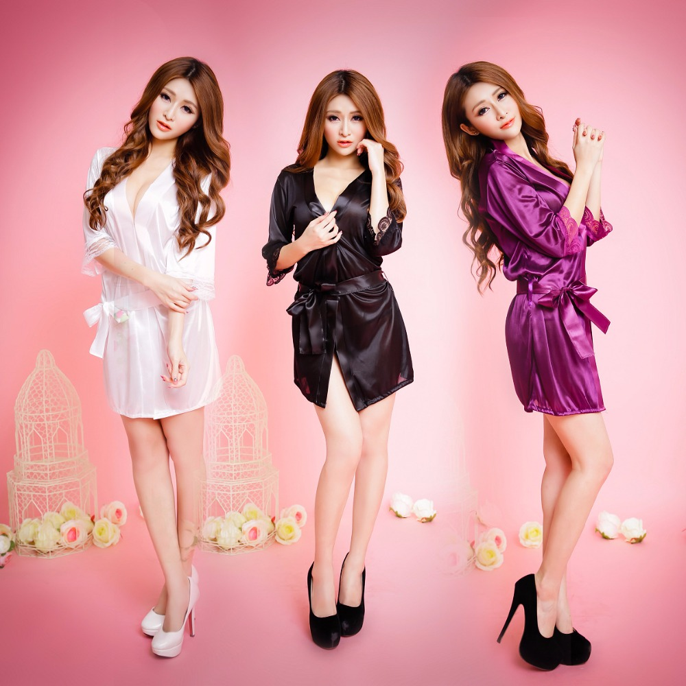 2018 New Fashion Faux Silk Robe Femme Satin Sleepwear Home Suit Night Sleep Sets Underwear discount sale sex Sleepwear open bust(China)
