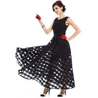 Sisjuly Women S Organza Vintage Dress 2017 Black O Neck Sleeveless Expansion Dress Perspective Sexy Ankle