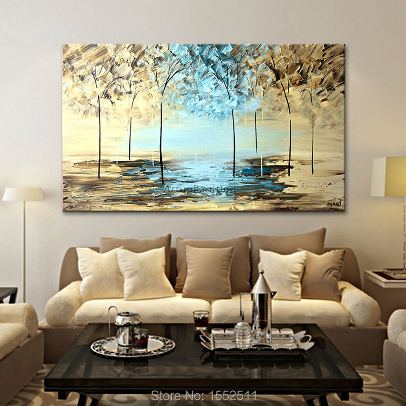 Buy canvas painting hand painted abstract - Living room wall decor pictures ...