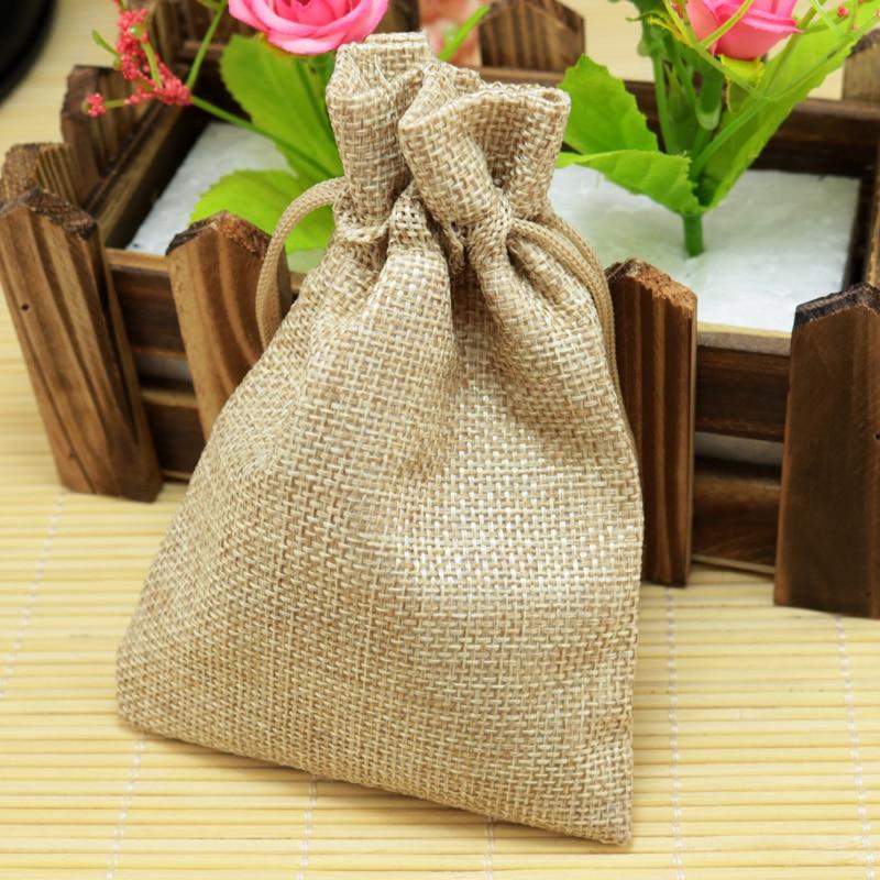 10*14cm 50pcs Plain Brown linen jute bag drawstring bracelet necklace jewelry package bag small gift bag Wedding packaging bags