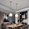 Скандинавский черный/золотой светодиодный подвесной светильник  современный подвесной светильник  стеклянный шар для кухни  спальни  дома ...