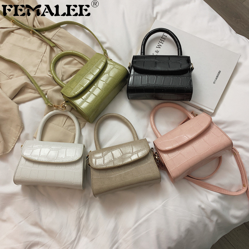 Mini Bags For Women 2019 Stone Pattern Square Crossbody Bag Fashion Handbags Purses With Handle Female PU Leather Shoulder Bag