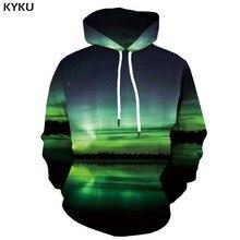 KYKU 3d Hoodies Aurora Hoodie Men Harajuku Hoody Anime Galaxy Space Hooded Casual Water Print Forest Hoodes