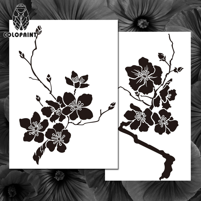 Colopaint Airbrush Templates Stencil BPS 005 Cherry Blossom Flowers - airbrush templates