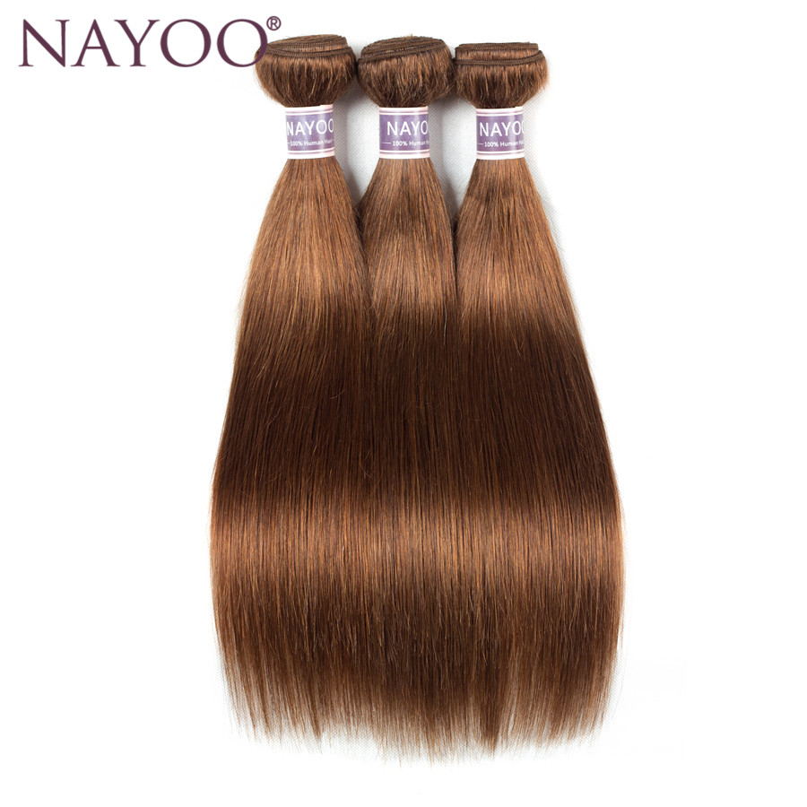 NAYOO Blonde 3 buntar Dubbla Weft brasilianska Straight Human Hair - Mänskligt hår (svart)