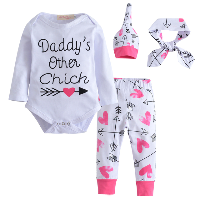 3235b614014f 4Pcs Set 2019 Hot Selling Newborn Baby Girl Clothes Long sleeves Baby  Romper+Pants+Cap+Headband Outfits Infant Clothing Set