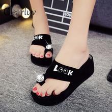 Womens summer flat sandals 2019 suede luxury party open toe ladies rhinestone high heel slippers size 35-39