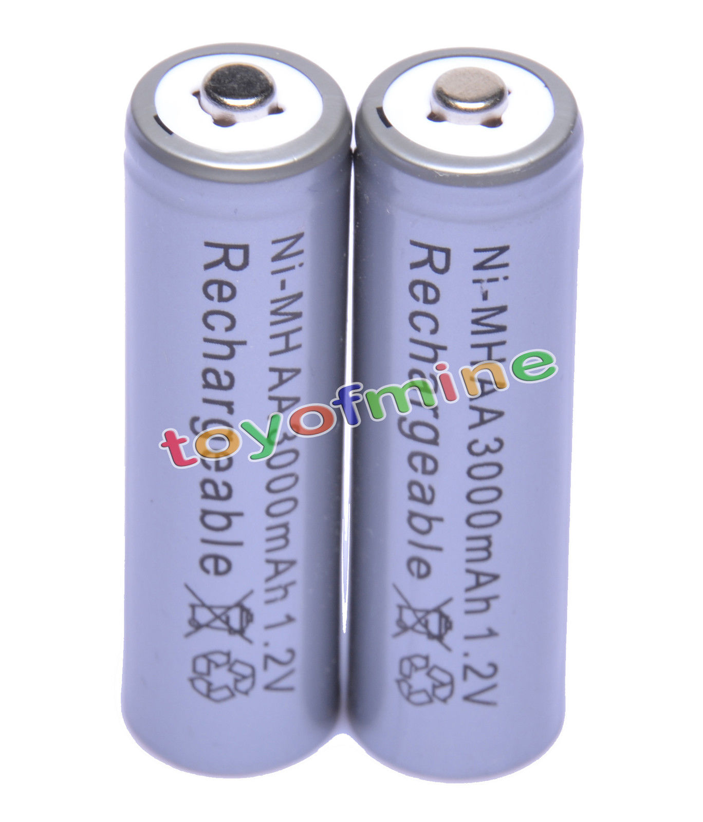 2x AA battery batteries Bulk Nickel Hydride Rechargeable NI-MH 3000mAh 1.2V Gray