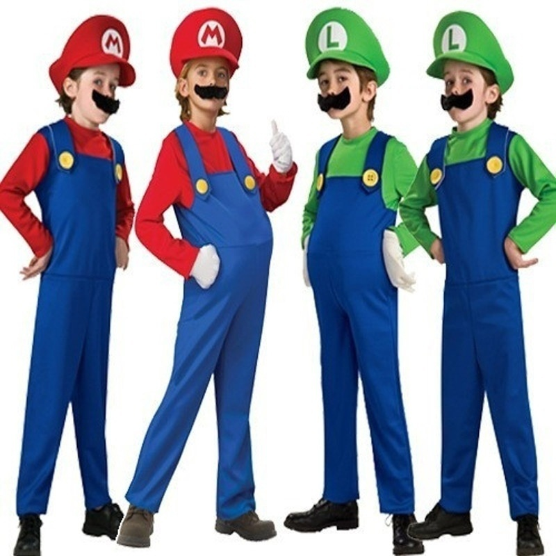 Halloween Cosplay Super Mario Luigi Bros Costume Kids Party Wear With Hat Beard Boys Girls Red Green Costume Children Clothing
