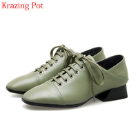 2018 New Arrival Large Size Cow Leather Streetwear Lace Up Square Toe Med Heel Retro Women