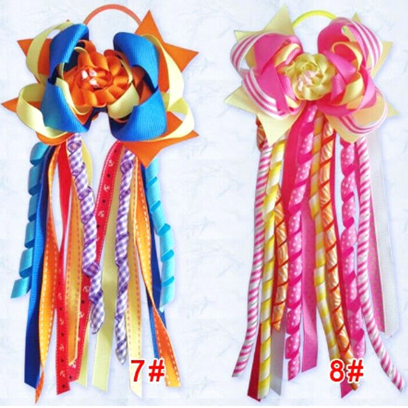 "12 BLESSING Girl 4/"" Colorful Bowknot Ponytail Hair Bow Elastic Pony Streamers"