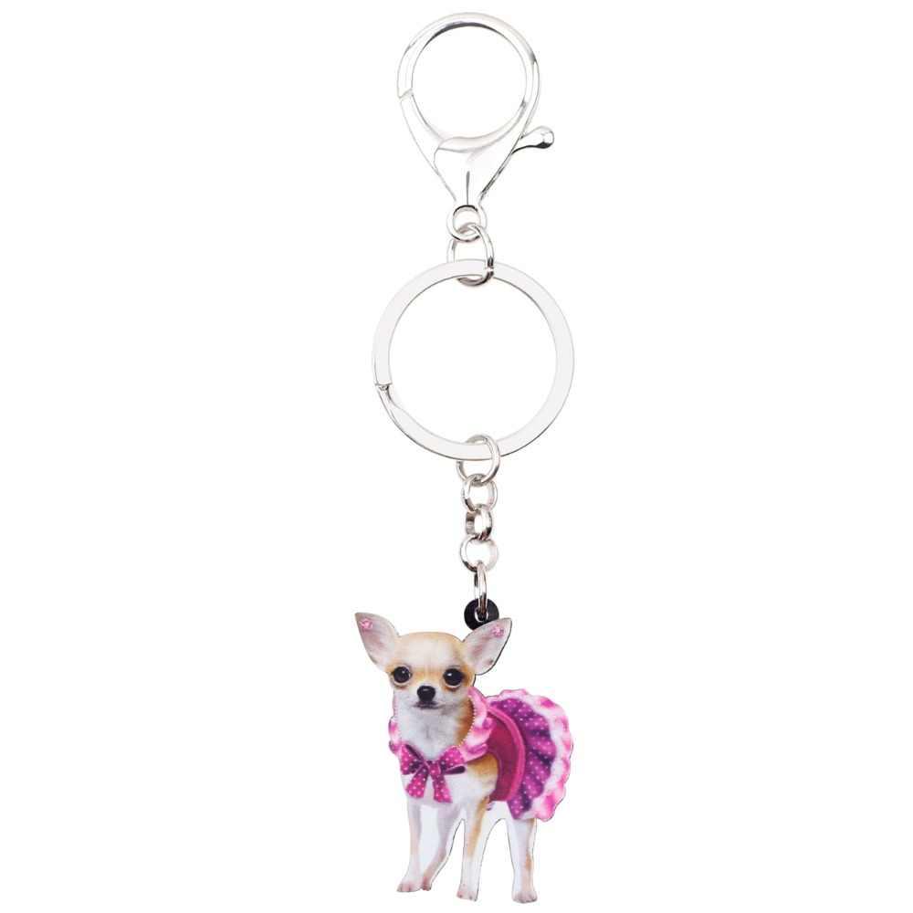 Bonsny Acrílico Rosa Bonito Vestido de Cão Chihuahua Chaveiro Chaveiro Jóias Anéis Animais Para Mulheres Das Senhoras Da Menina Bolsa Encantos Do Carro
