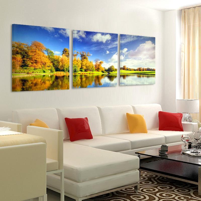 HD Gedrukt Lake Landschap Bomen Canvas Schilderij Muur Foto 'S voor - Huisdecoratie