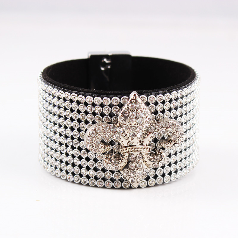 Magnetic Buckle Flower Leather Bracelet Full Crystal Cape Bracelets for Women Wide Lucky Bracelets&Bangles jewelery