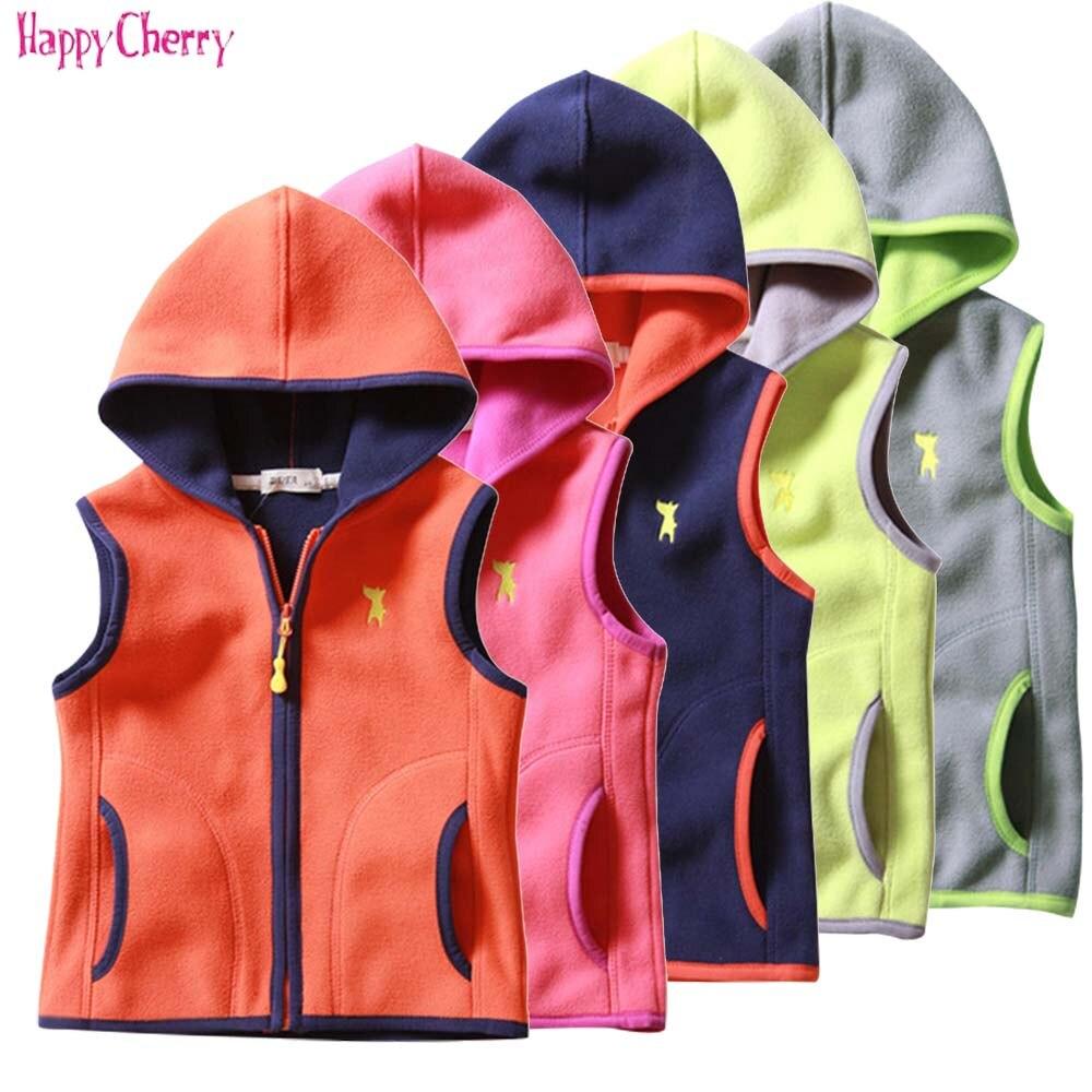 Happy Cherry Unisex Kids Polar Fleece Jacket Thicken Warm Hooded Long Sleeve Outerwear