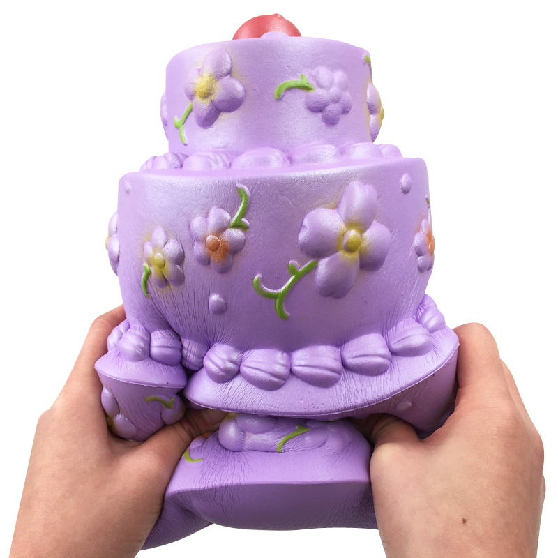 Giant Squishies Jumbo Purple Follow Birthday Cake Three Layer Cream Scented Slow Rising Squeeze Toys Stress Reliever Toys Gift