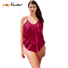 POPFAVOR One Pieces Swimsuit Plus Size Fat Bikini Solid Lotus Leaf Edge Sexy Womens Set New Push Up