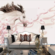 Modern Nordic style flowers white horse TV background wall wallpaper murals home decoration custom photo