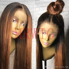 MRWIG  12-28 Natural Straight Synthetic Hair High Temperature Fiber Heat Resistant Glueless Front Lace Wig Middle Part
