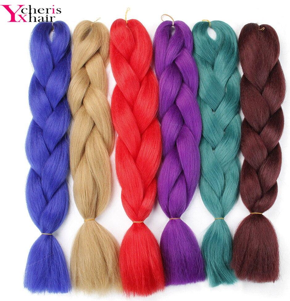 YXcherishair 12pcs LOT jumbo braids high temperature fiber pure color 100g pc crochet hair exteniosn