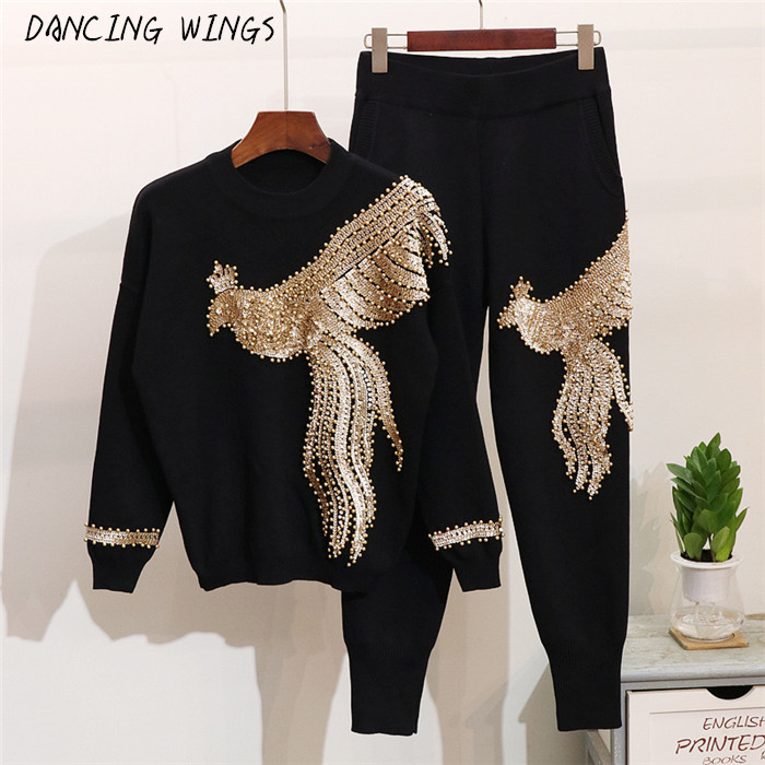 Autumn Women 2 Pieces Sweater Suits Handmade Beading Sequined Phoenix Pattern Knitted Pullover Tops Casual Trousers
