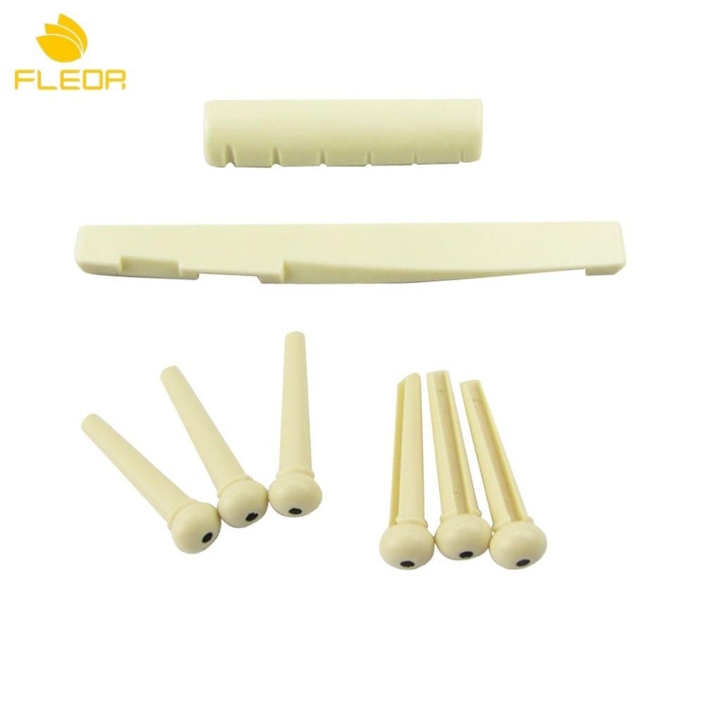FLEOR Set of Plastic Pre Slotted 6-String Acoustic Guitar Bridge Pins Saddle Nut Ivory for Acoustic Guitar Parts