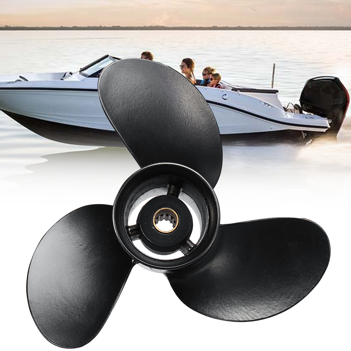 3B2W64517-1 8.5X9 Boat Outboard Propeller for Tohatsu Nissan-Mercury 8-9.8HP Aluminum Alloy 3 Blades Black 12 Spline Tooths цены онлайн