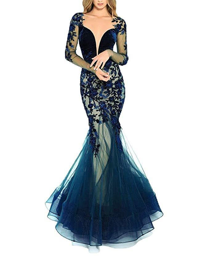 2019 Sexy Lace Appliques Mermaid Prom   Dresses   Long Sleeves   Evening     Dress   Formal Gowns Vestidos De Fiesta De Noche