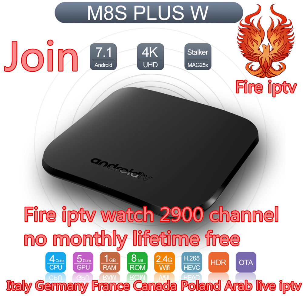 IPTV abonnement gratuit à vie M8S Plus Android Tv Box france italie 2900 livraison iptv canaux m3u europe arabe Smart set top box