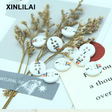 100pcs Whiter Triangle Two Holes Buttons Handmade Convex Wooden Vertical Bar Stripe Fashion Trend Accessories