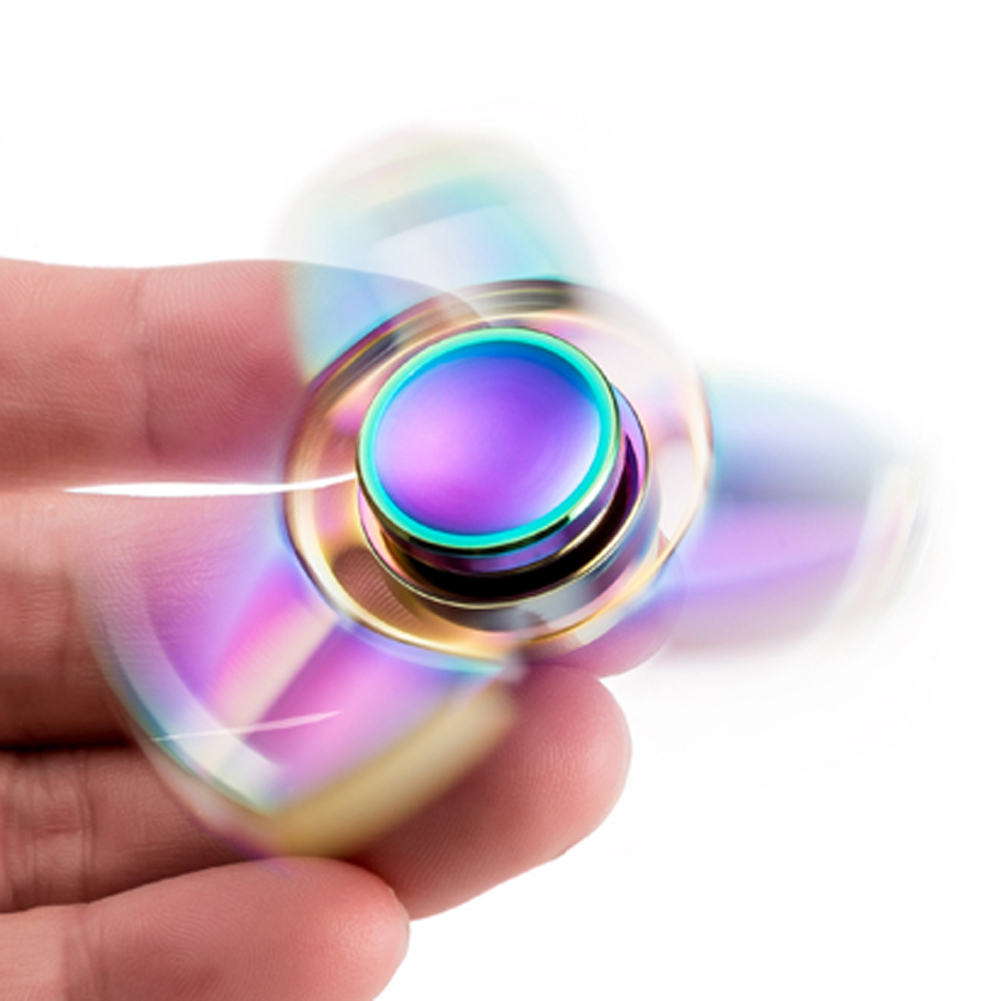 Hand Spinner Steel Ball Bearing Rotation Time Long Anti Stress Toys Focus Gyro Toy Rainbow Fidget Spinner