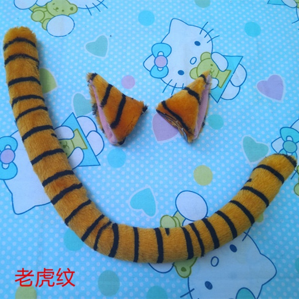 Tiger Stripe Neko cat ears cat plush tail Anime Cosplay Costume Fancy Costumes Dress Halloween Women Girls Kawaii Props 50CM