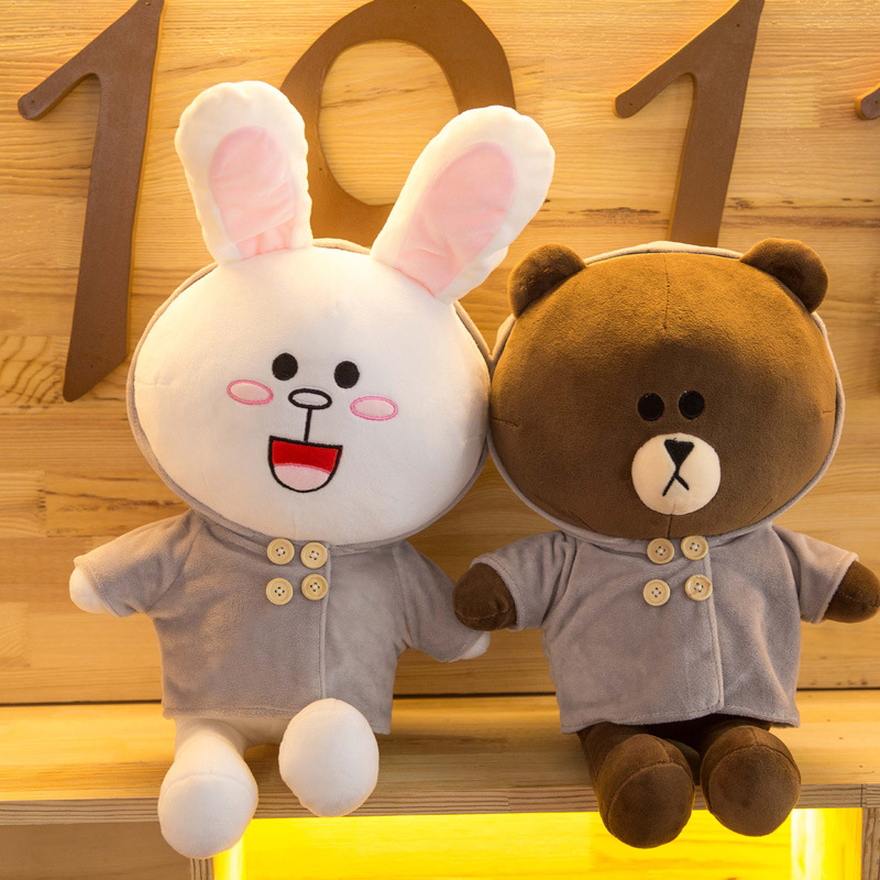 35cm Brown Bear Cony Rabbit Stuffed Plush Toys Animals Soft Dolls Kawaii Children Birthday Gifts Girlfriend Cute Pillow R002 kawaii pvc flocked dolls furry animals cars and desk decorate cute dolls exquisite collection flocking toys gifts for new year