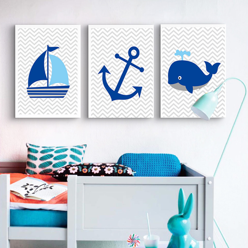 Navy Blue Sailboat Whale Anchor Nursery Decor Nautical Canvas Prints Painting Wall Art Pictures For Boy Kids Room Decorative