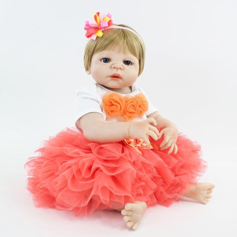 55cm Full Silicone Reborn Baby Doll Toy 22'' Vinyl Newborn Princess Babies Girl Bonecas Bebe Alive Kids Bathe Toy Birthday Gift