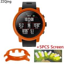 2in1 Para Original Xiaomi Huami Esporte Relógio Inteligente Amazônia Stratos 2 Caso capa protetora + 5 pcs filme protetor de Tela ZZQing