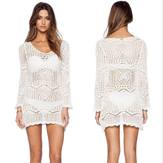 New Fashion Casual White V Neck Long Sleeve Sexy Hollow Out Cotton