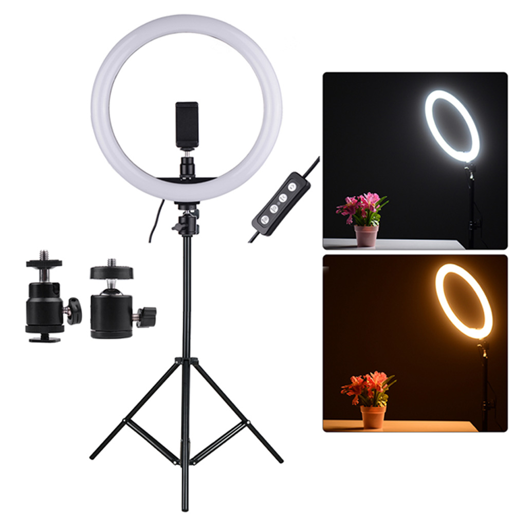 11 8in 24W 2700 5500K 180pcs LED Video Ring Light Fill in Lamp Dimmable Phone Holder