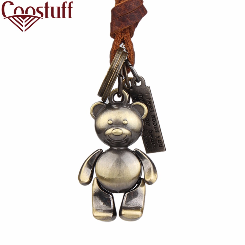 cute woman jewelry choker necklaces & pendants,genuine leather bear pendant chokers necklace women collares mujer colar feminino