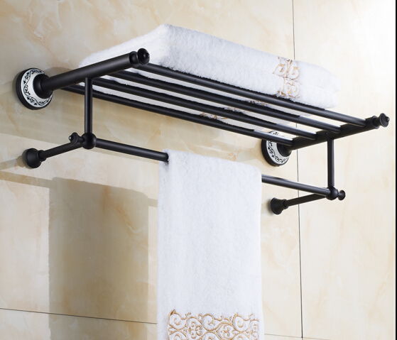 high quality oil black fixed bath towel holder brass towel rack holder for hotel or