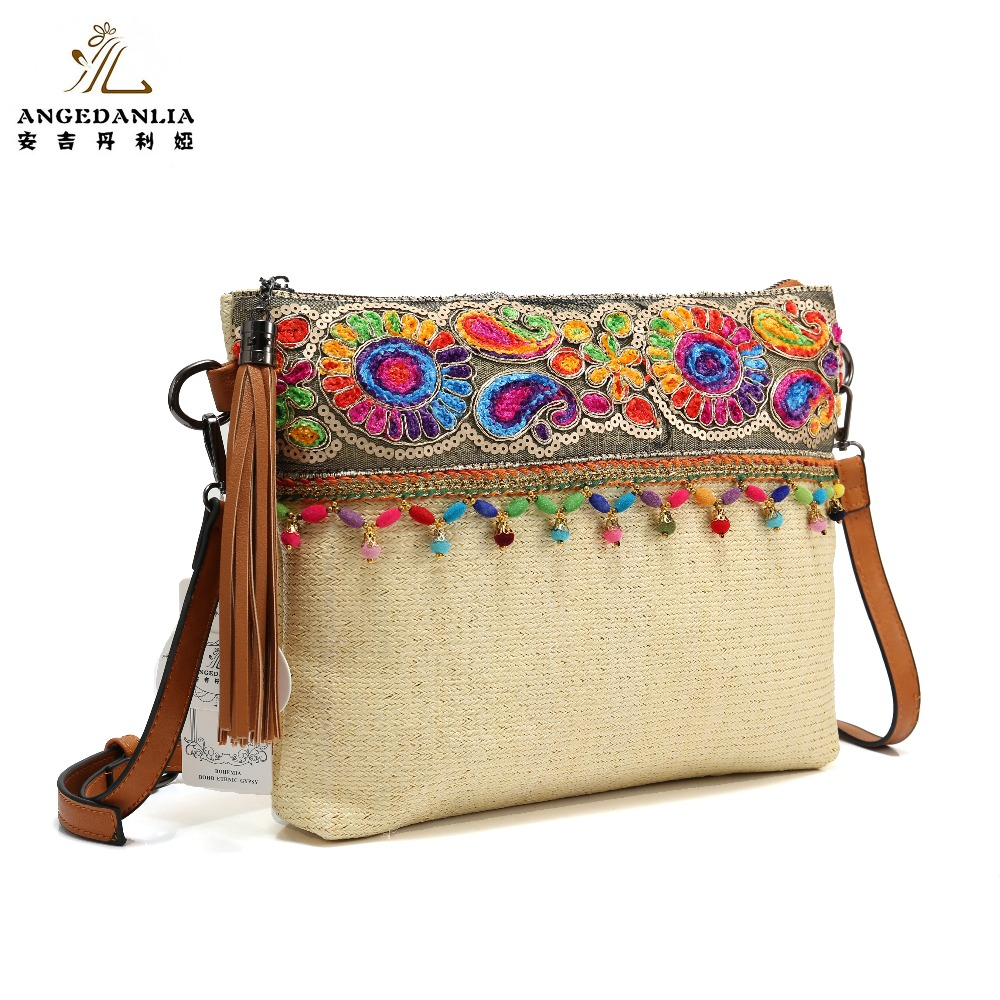 Women envelope Shoulder Bag National handbag large Straw Handmade Embroidered Bohemian Women Ethnic Cross Body summer Handbag free shipping 2016 hot sale national trend bags one shoulder cross body women s canvas handbag embroidered vintage elegant bag