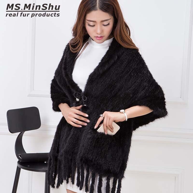 Knitted Mink Fur Shawl Fashion Pashmina Coat Real Mink Fur   Scarf     Wraps   Autumn Winter Women Poncho Luxury Fur Shawl Female