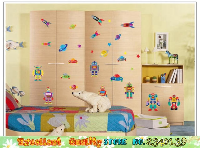 Outer Space UFO Rocket Robot Wall Stickers For Nursery Kids Room Home  Cabinet Wardrobe Decor Decals