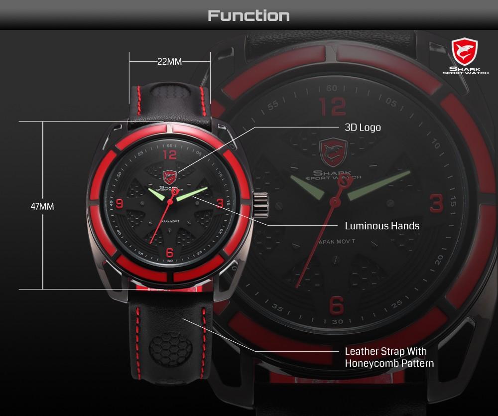 นวดฉลามกีฬานาฬิกาสีแดงกลวงLugกรณี3DแบบDialหนังสีดำวงส่องสว่างมือควอตซ์ผู้ชายRelógio Masculino/SH472 9