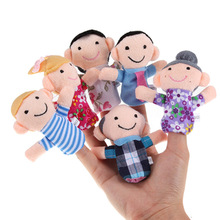 Hot! 6Pcs/lot Family Finger fantoches de dedo Puppets Cloth Doll Baby Educational Hand Toy Story Kid Free Shipping