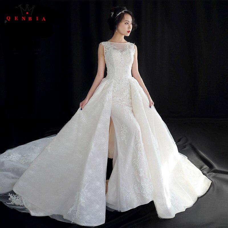Jupe détaabel sirène sur mesure grand Train dentelle perles cristal luxe robes de mariée Sexy 2018 robe de mariée YB129