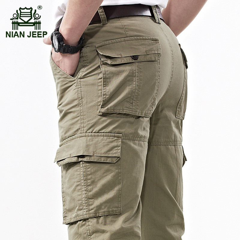 NIAN JEEP 2017 Spring Men's Casual Brand Khaki Pant 100% Pure Cotton Straight Pants Man Summer Plus Size Army Green Long Trouser