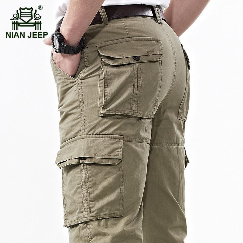 NIANJEEP casual khaki cotton pants man summer plus size
