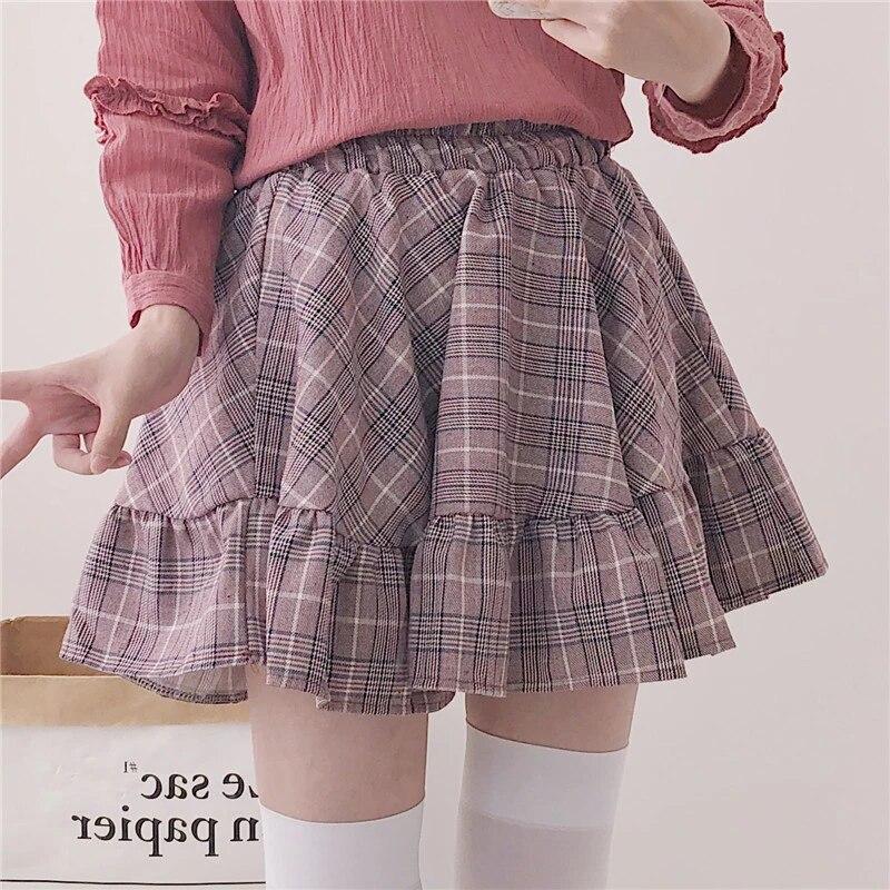 Mini skirts loose Spring Sweet Plaid Ruffles Mini Skirt Gray Pink Japanese Loose Fashion A Line Girls Skirt Woman Lolita Jk College Style Skirt Skirts Aliexpress