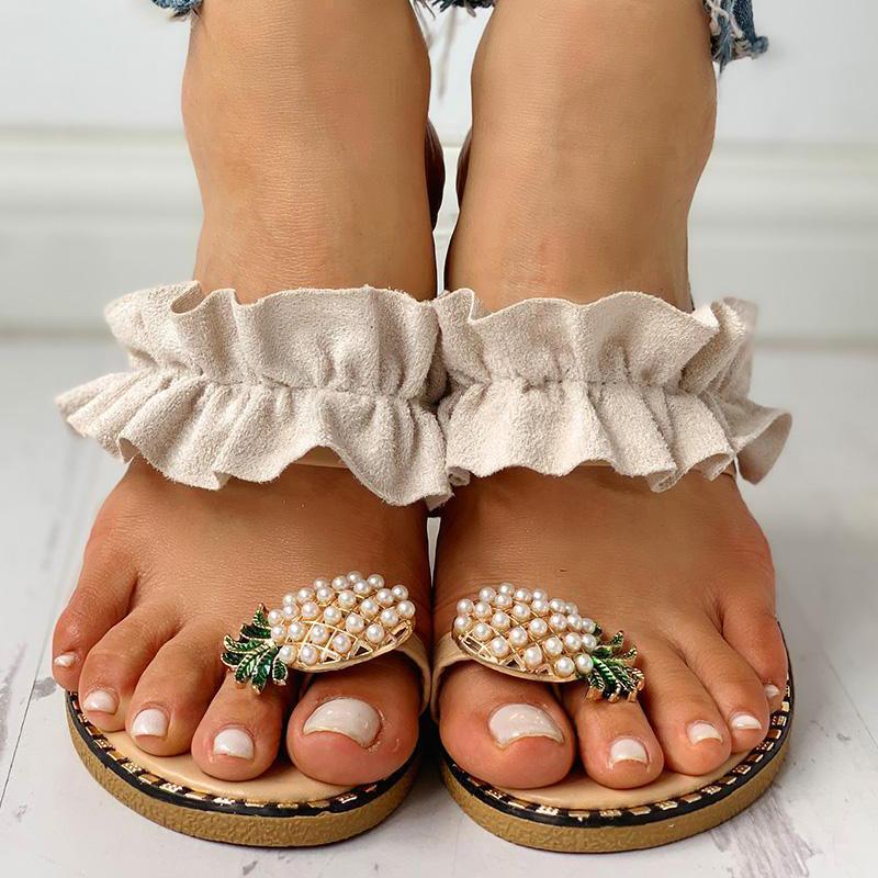 Женские шлепанцы на плоской подошве; Летние повседневные Вьетнамки с цветами и жемчугом; Женская обувь на плоской подошве; Удобные женские пляжные сандалии размера плюс; Размеры 35 43 Вьетнамки      АлиЭкспресс